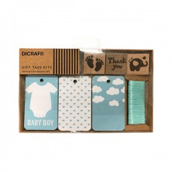 "Kit tarjetas + sella ""Baby Boy"""
